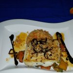Special fish of the day with rice and vegetables.