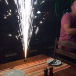 Fireworks for my birthday and staff and guests singing happy birthday