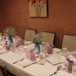 Table set up for small baby shower (we had two long tables for approx. 20 guests) -