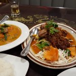 Tamarind duck and panang beef curry ..... so decorative