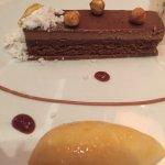 Chocolate bar dessert w/ hazelnut mousse & organe sorbet - Yum!!