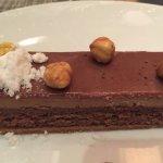 Chocolate bar/hazelnut mousse close-up