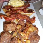 Breakfast special - home fries, scrambled eggs and bacon!