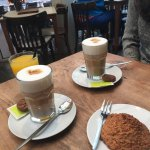 Nice coffee with a delicious fresh juice! The coccunut sweet dessert was like a home made one! O
