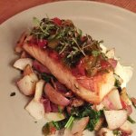 Skuna Bay Salmon (pork belly & potato hash, pea greens, tarragon aioli peperonata),