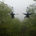 My daughter and her friend zipping into the fog!