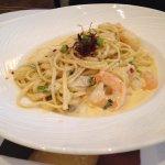 Spicy Seafood Linguine - tiger prawns, cod cheeks, salmon, bird's eye chillies, lime, cream sauc