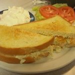 chicken salad on sourdough with fruit fluff