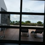 View out the door over the patio to the ocean.