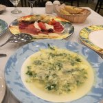 Two delicious appetizers: Cold Tuscan Antipasto and Stracciatella soup aka Italian egg drop soup