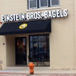 The front & entrance to Einstein Bros. Bagels