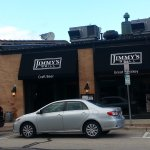 The front, entrance & outdoor patio to Jimmy's Grill