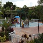 Children's pool with pirate ship and water fountain spout