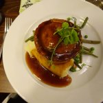 Beef & Blue Cheese Pie with Mashed Potato, Seasonal Vegetables & Gravy.