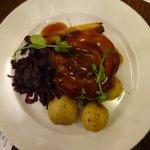 Stuffed Belly Pork with Seasonal Greens, Mashed Potato & Gravy