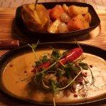 Pepper steak, creamy pepper sauce, baked potato, carrot & swede