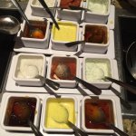 Nice choice of dipping sauces - plenty for a table of 6