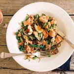 Asian style noodle salad with salmon