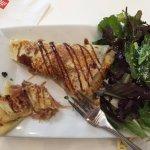 Prosciutto Crepes w/green salad (half eaten) Yum!