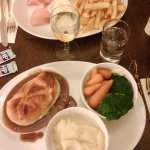 Steak & Ale pie, mash and fresh veg and Ham, Egg & Chips
