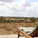 View of the Mara River from the seating area in the grounds
