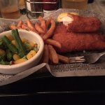 Three Piece Fish and Chips with Steamed Veggies