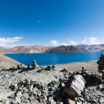View of the Pangong lake near the camp
