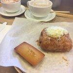 Friand, Ham and Cheese Croissant, Mocha Latte, Cafe Au Lait