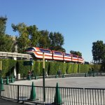 Monorail arriving at Disney entry plaza