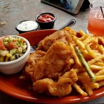 Fish (cod) & chips; a great little salad with jalapeño bacon & lots of goodies.