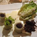 Roasted leeks with black pudding appetizer.
