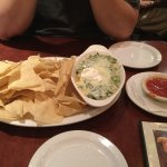 Santa Fe Spinach Dip YUMMY with warm chips and salsa