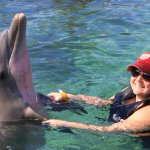 "Me ""dancing"" with our team's dolphin."