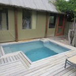 Private plunge pool, outdoor shower area (on the right) and small part of our large outdoor deck