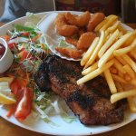 Creel prawns and sirloin steak