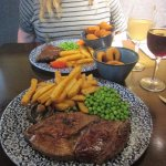 Steaks cooked just right,home cooked chips.All hot and fresh and very well presented