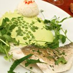 steamed sea bream with pea and wasabi cream, Thai rice.