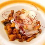 sauté of girolles, poached egg with Iberian ventrêche bacon and meat jus