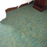 Stained carpet, right of the bed