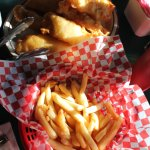 Family-style serving of fish and chips at Henry's.