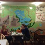 Map mural in dining area.