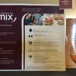 "Flyer on room fridge promoting the evening reception or ""Mix"".  Unlike other RI which include wi"