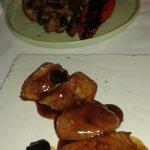 Pork Medallions with plum sauce.
