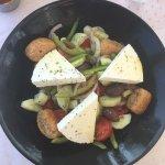 Santorini salad and seafood risotto