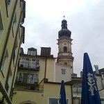 Blick auf die Peter-und Paulkirche vom Biergarten aus