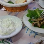 The most delicious tzatziki and marinated whitebait