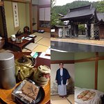 The room we stayed in, tea amenities and bedding provided, bath yukata provided, and the main en