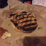 Grilled Kid's Chicken Burger, which was actually burnt.