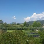beautiful views of the surrounding countryside and mountains