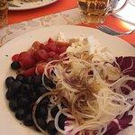Delicious ravioli with mushrooms and interesting Greek salad